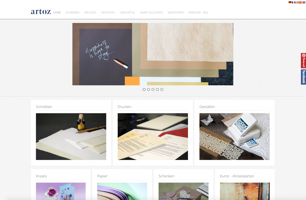 Website der Artoz Papier AG