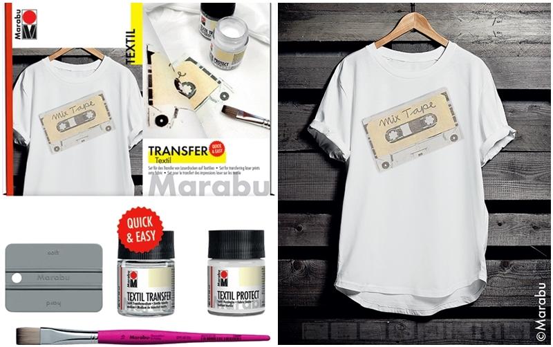 Marabu Textil Transfer Set und Anwendungsbeispiel auf T-Shirt.