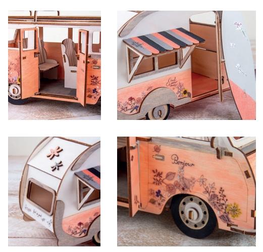 Verschiedene Ausschnitte von einem bemalten Campingbus aus Holz ,der Firma Rayher Hobby.
