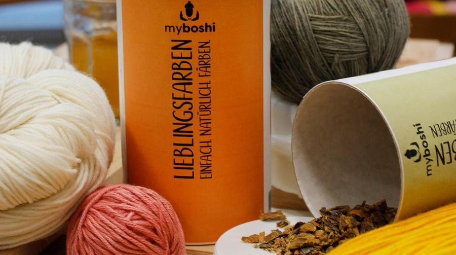 Das Bild zeigt den Inhalt einer Dose myboshi Lieblingsfarben.