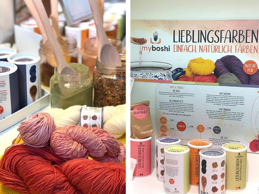 myboshi Lieblingsfarben, eingefärbte Wolle und die Farbdosen.