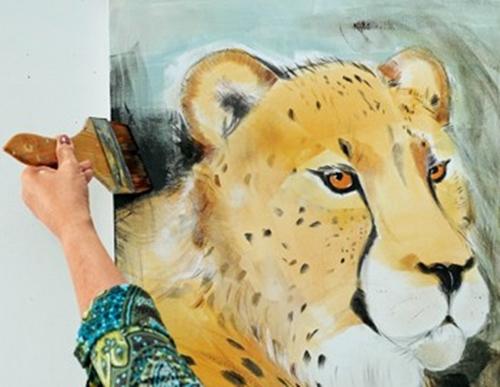 Der Hintergrund vom Geparden wird gestaltet.