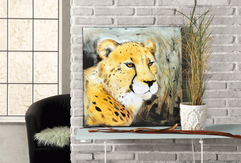 Geparden auf einem Leinwandbild.