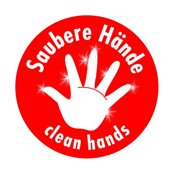Symbolschild für saubere Hände.