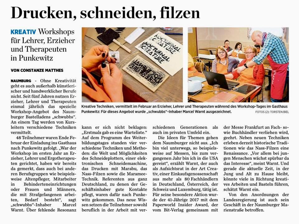 Zeitungsausschnitt über den Beitrag vom Workshop aus Punkewitz.