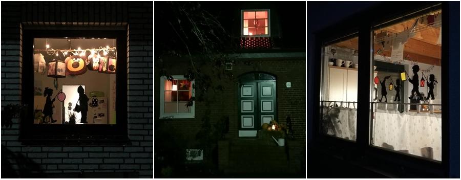 Laternen Fenster bei Dunkelheit.