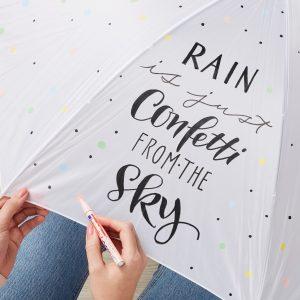 Regentropfen werden auf den Regenschirm gemalt.