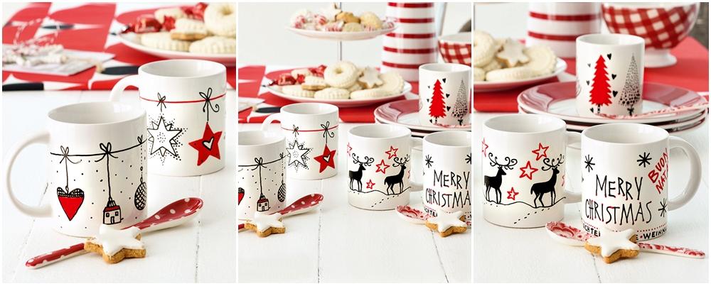 Viele verschiedene Weihnachtsbecher in den Farben, Weiß, Rot und Schwarz.