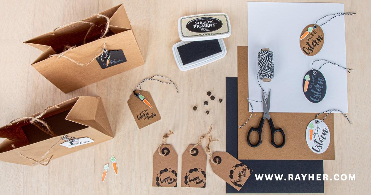 Geschenkanhänger und Geschenktüten mit Ostermotiven