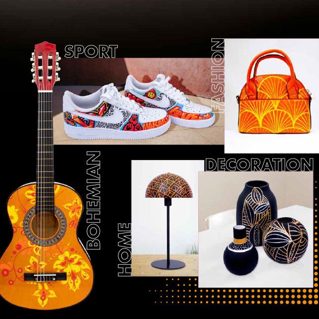 Mit dem YONO Marker bemalte Accessoires und Textilien