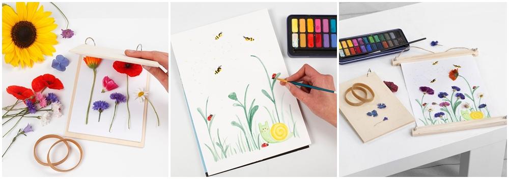 Sommerblumen werden in einer Blumenpresse getrocknet und gepresst und in einem Aquarellbild verarbeitet