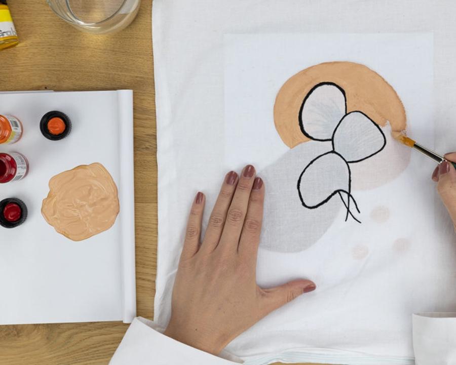Japandi-Line-Art Technik Hintergrund von der Motiv-Vorlage wird ausgemalt