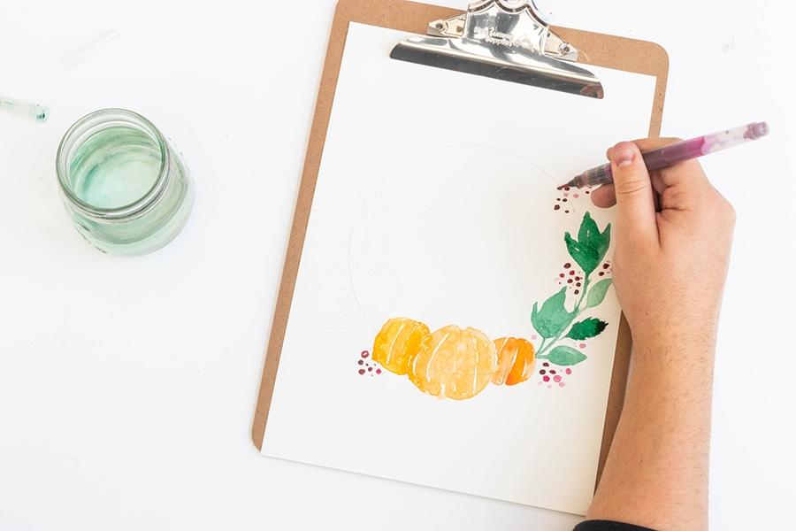 Einen Aquarellkranz selber malen - bbeeren aufmalen
