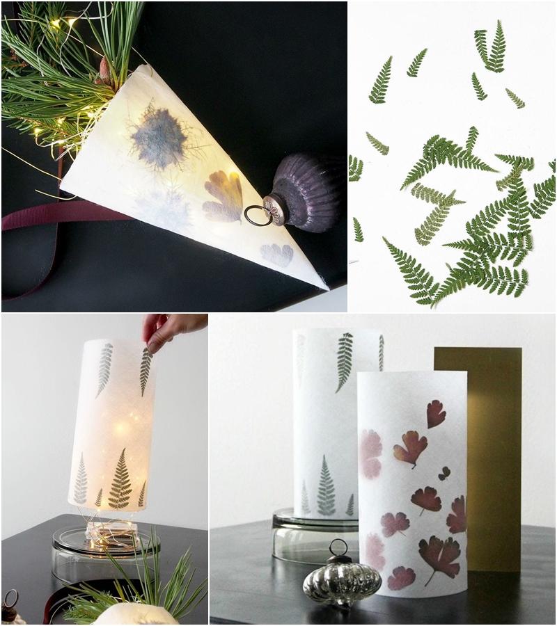 Lampen aus Vliseline mit gepressten Blättern