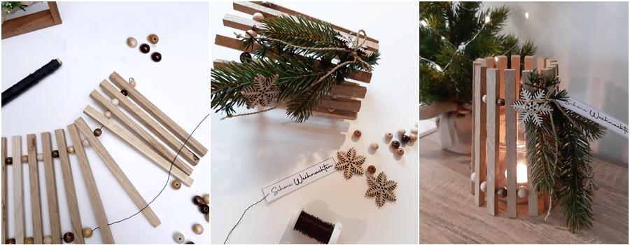 Windlicht aus Bastelklötchen, weihnachtlich dekoriert, step by step
